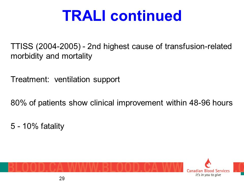 TRALI continued TTISS (2004-2005) - 2nd highest cause of transfusion-related morbidity and mortality.