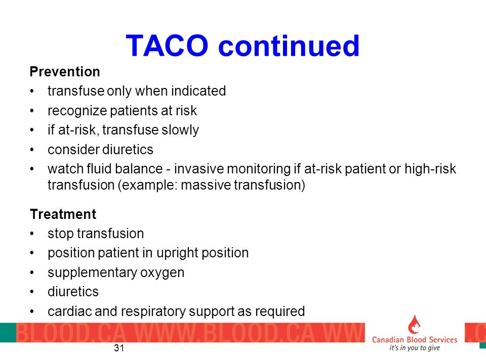 TACO continued Prevention transfuse only when indicated