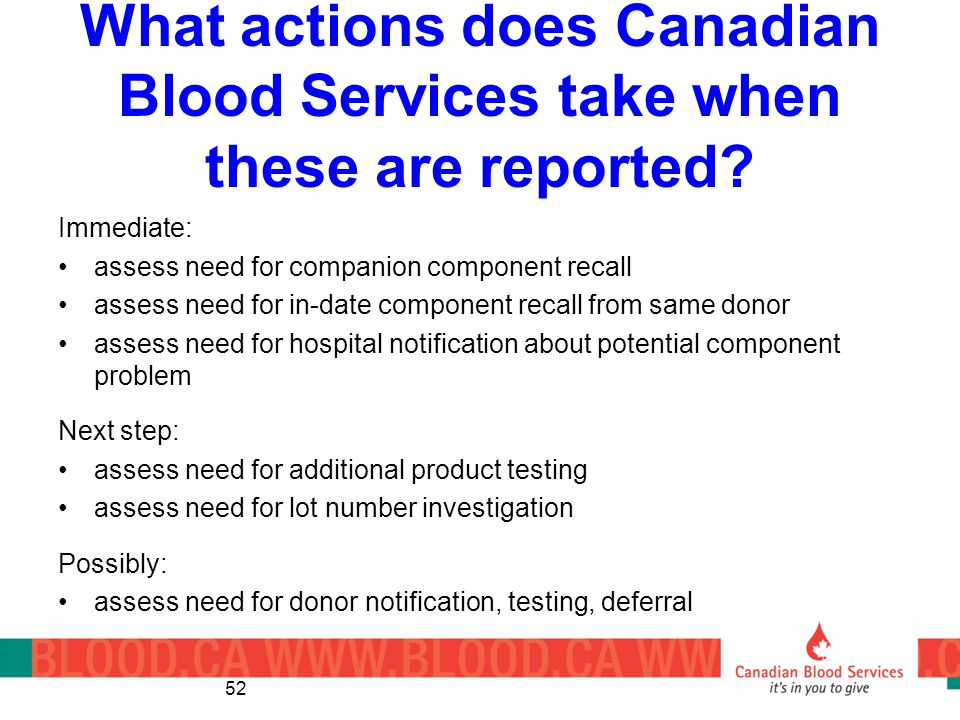 What actions does Canadian Blood Services take when these are reported