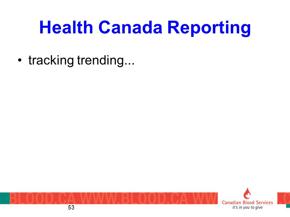 Health Canada Reporting