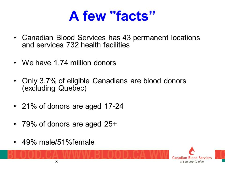 A few facts Canadian Blood Services has 43 permanent locations and services 732 health facilities.
