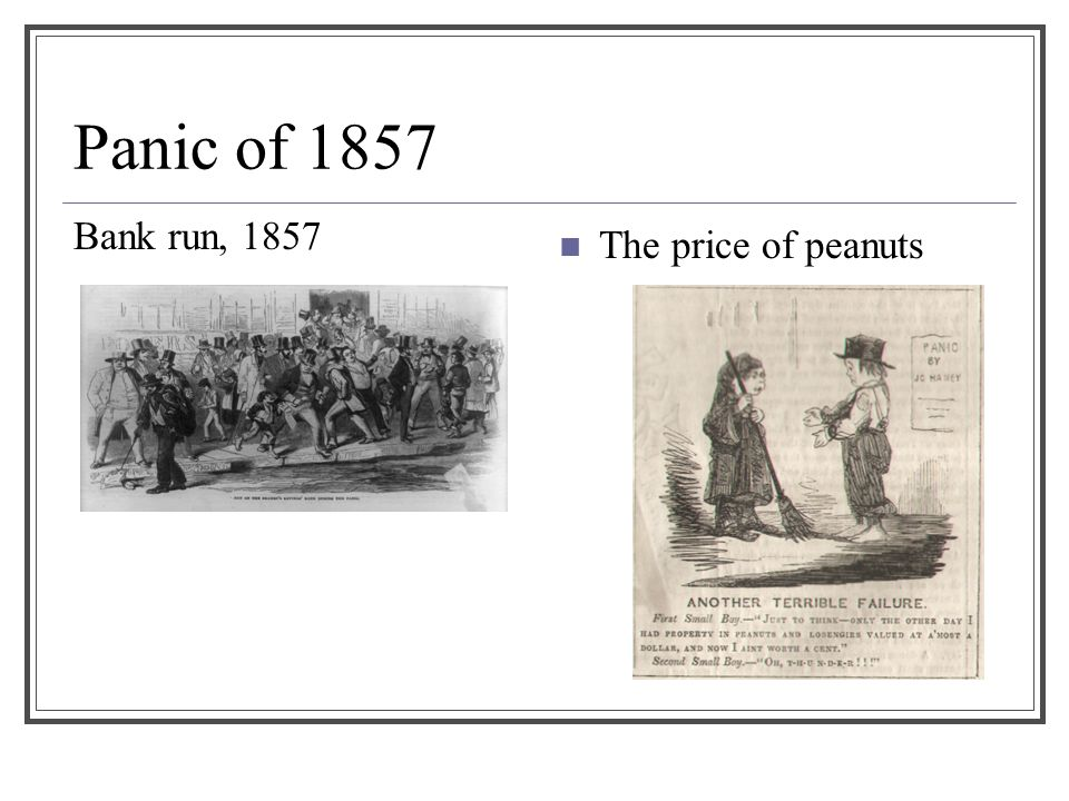 Panic of 1857 Bank run, 1857 The price of peanuts