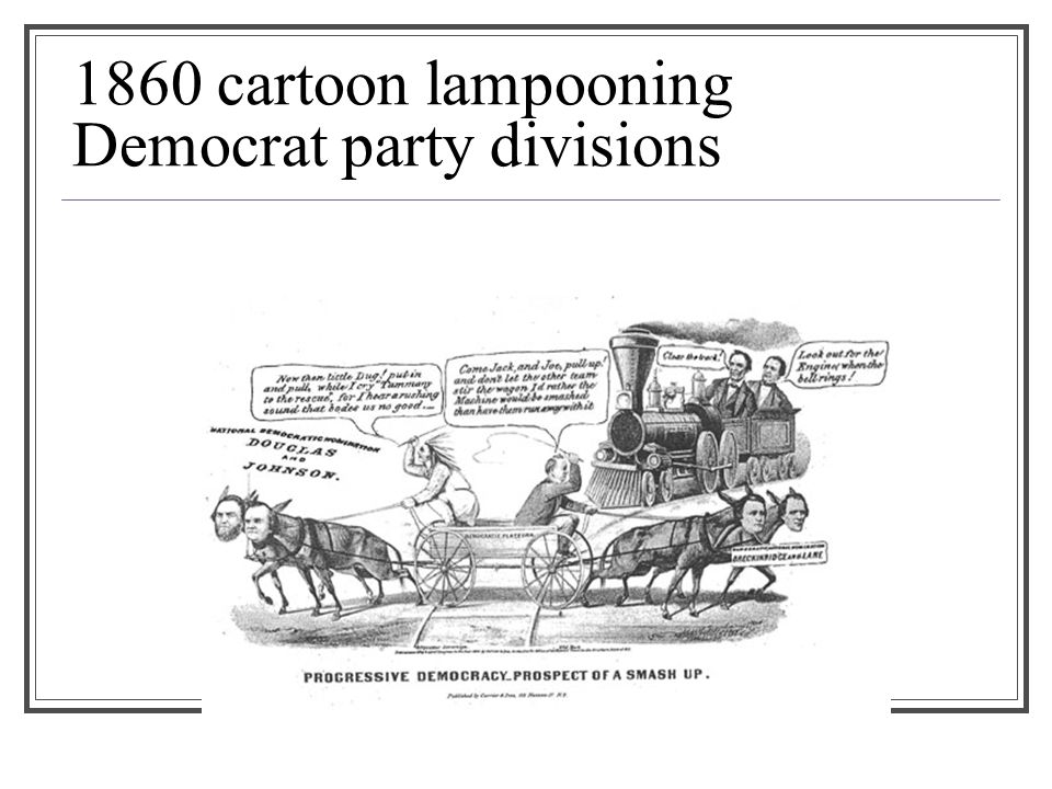 1860 cartoon lampooning Democrat party divisions