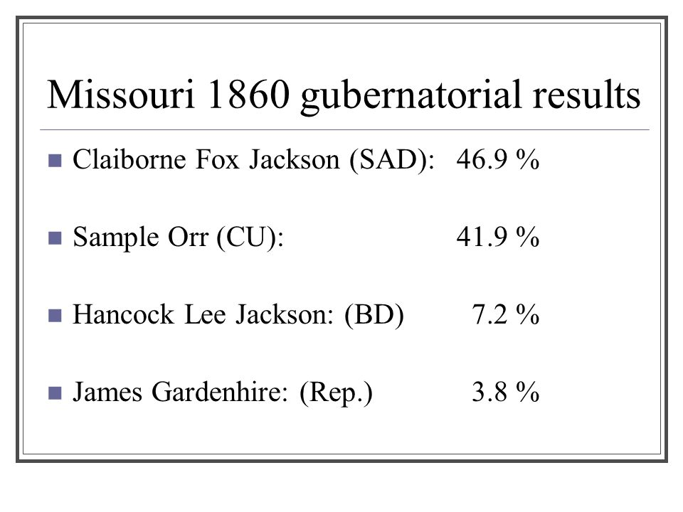 Missouri 1860 gubernatorial results