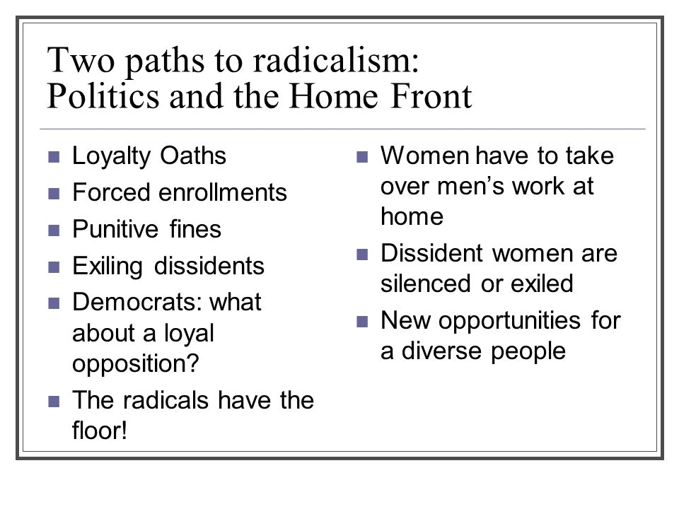 Two paths to radicalism: Politics and the Home Front