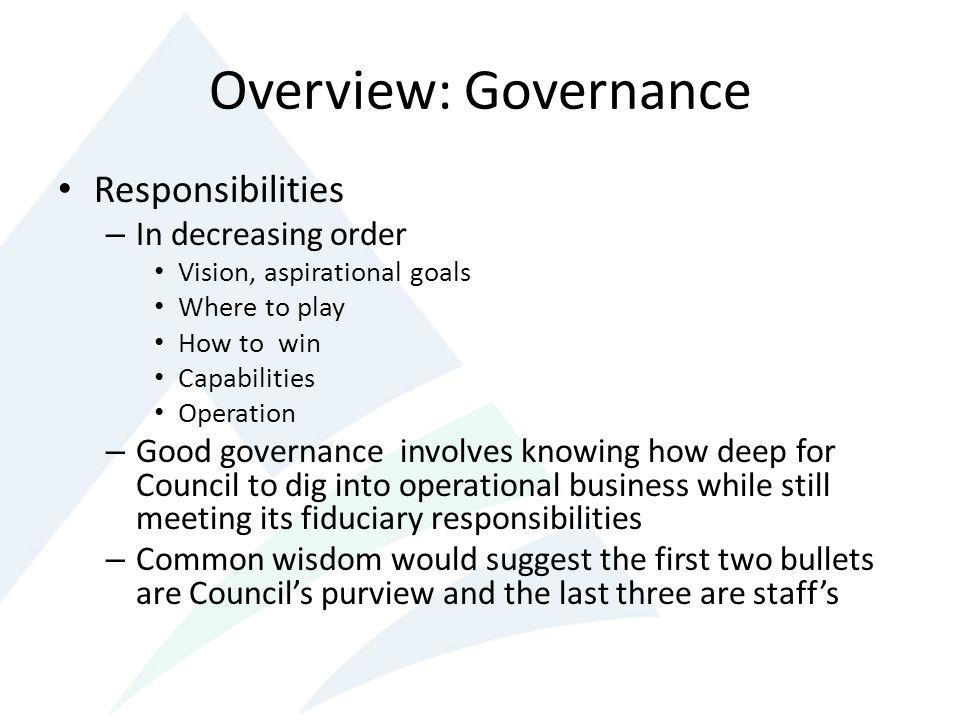 Overview: Governance Responsibilities In decreasing order