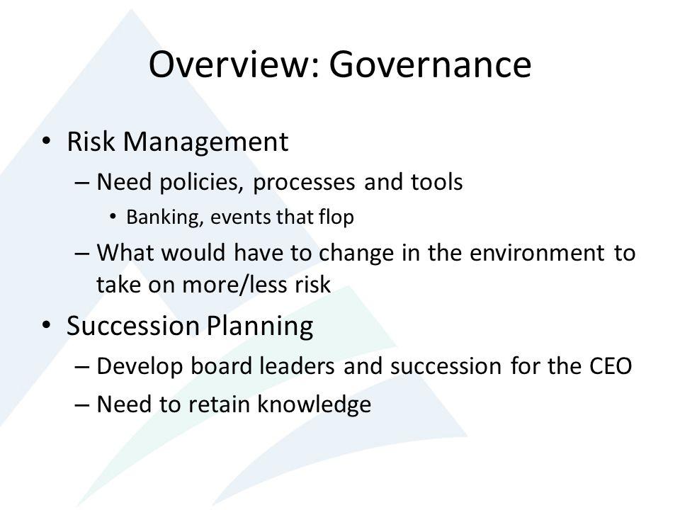 Overview: Governance Risk Management Succession Planning