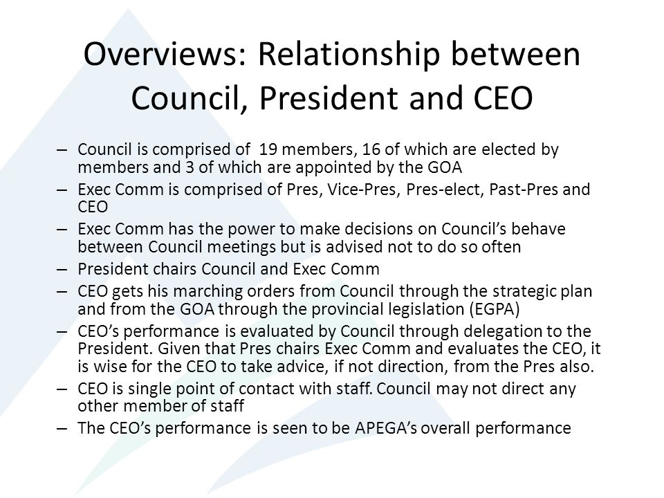 Overviews: Relationship between Council, President and CEO