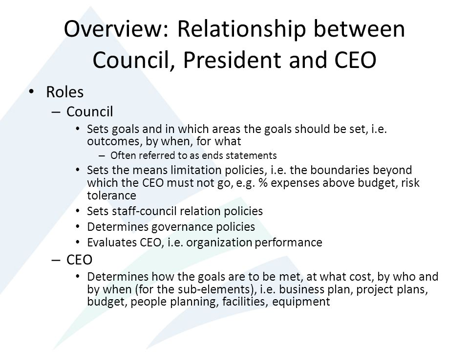 Overview: Relationship between Council, President and CEO