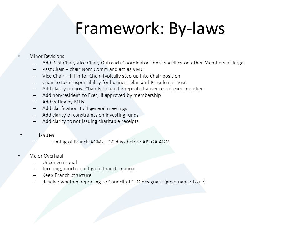 Framework: By-laws Issues Minor Revisions
