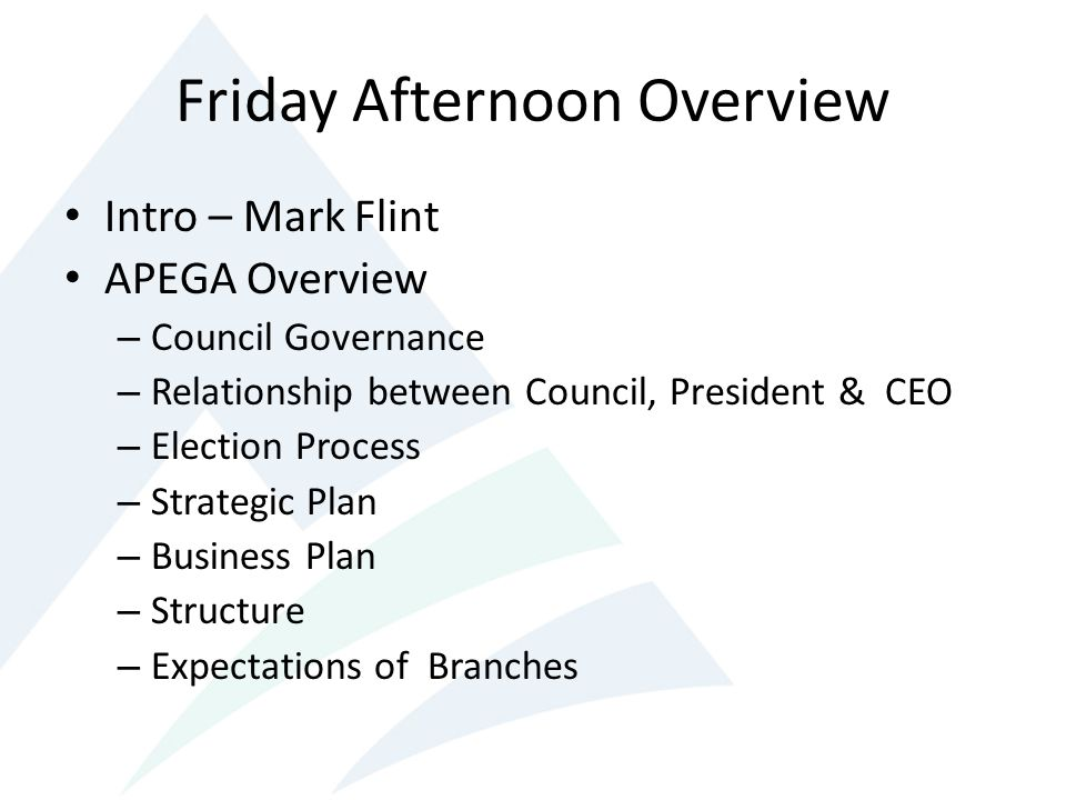 Friday Afternoon Overview