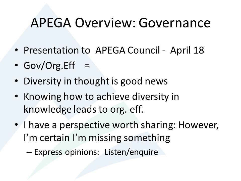 APEGA Overview: Governance