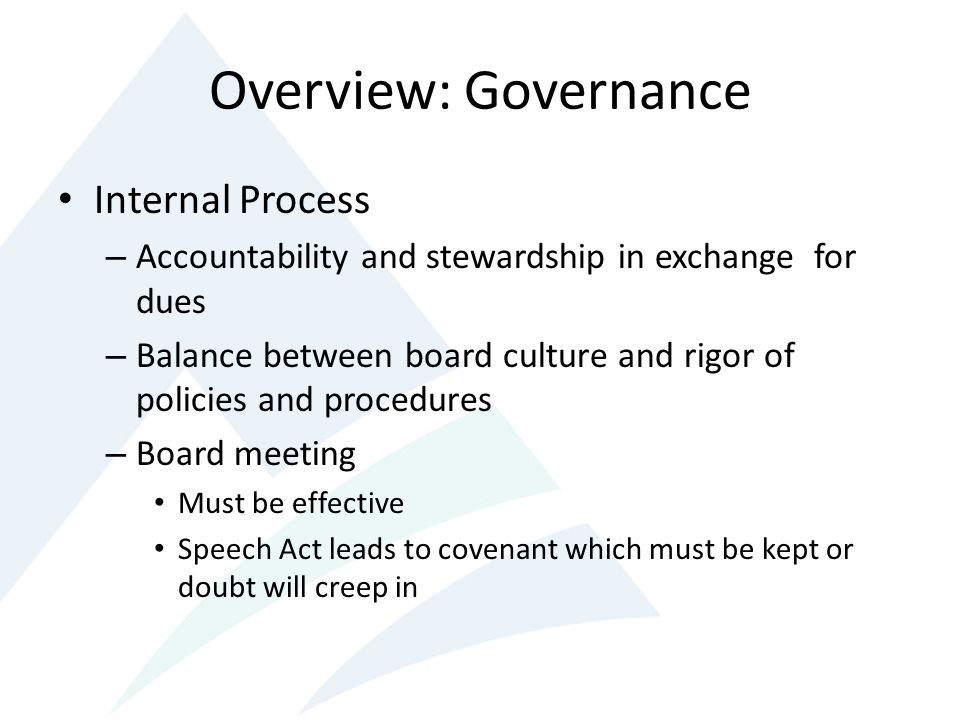 Overview: Governance Internal Process
