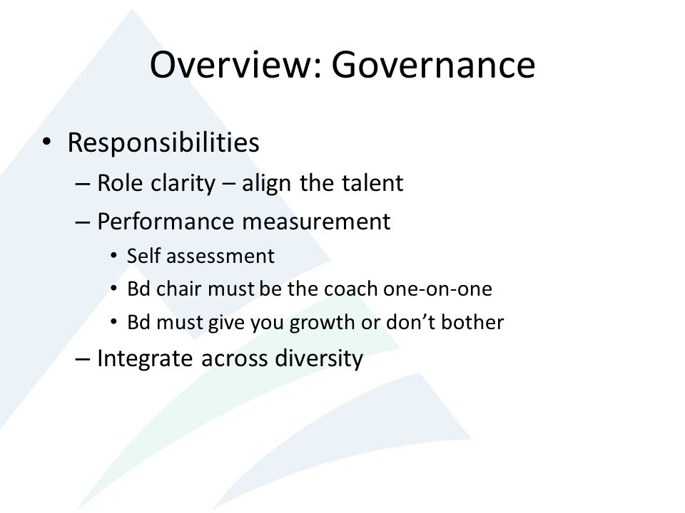Overview: Governance Responsibilities Role clarity – align the talent