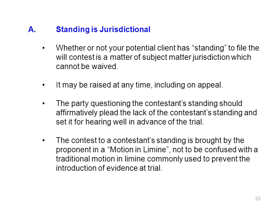 A. Standing is Jurisdictional