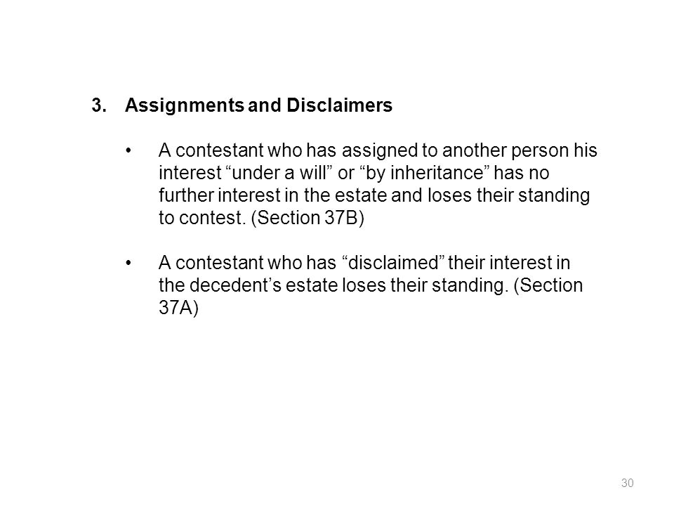 3. Assignments and Disclaimers