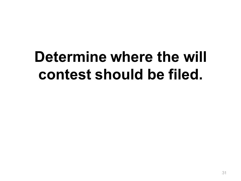Determine where the will contest should be filed.