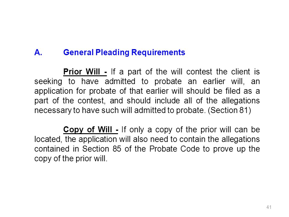 A. General Pleading Requirements