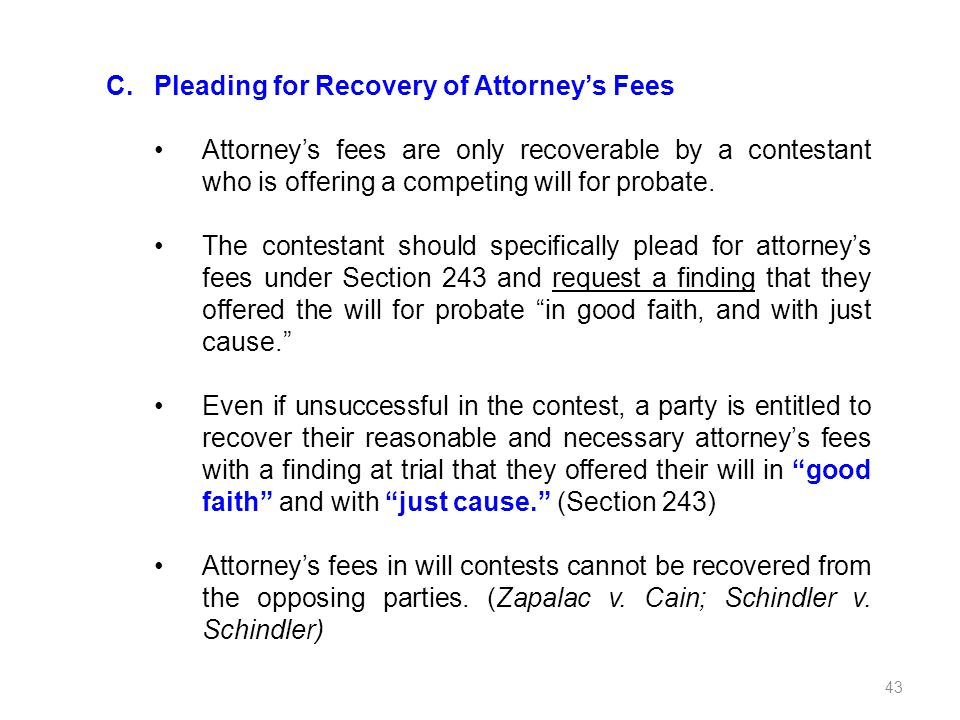 Pleading for Recovery of Attorney's Fees