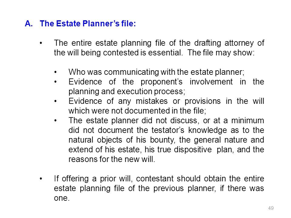 The Estate Planner's file: