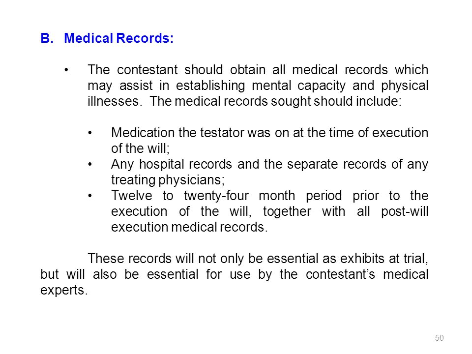 B. Medical Records: