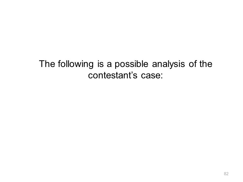 The following is a possible analysis of the contestant's case:
