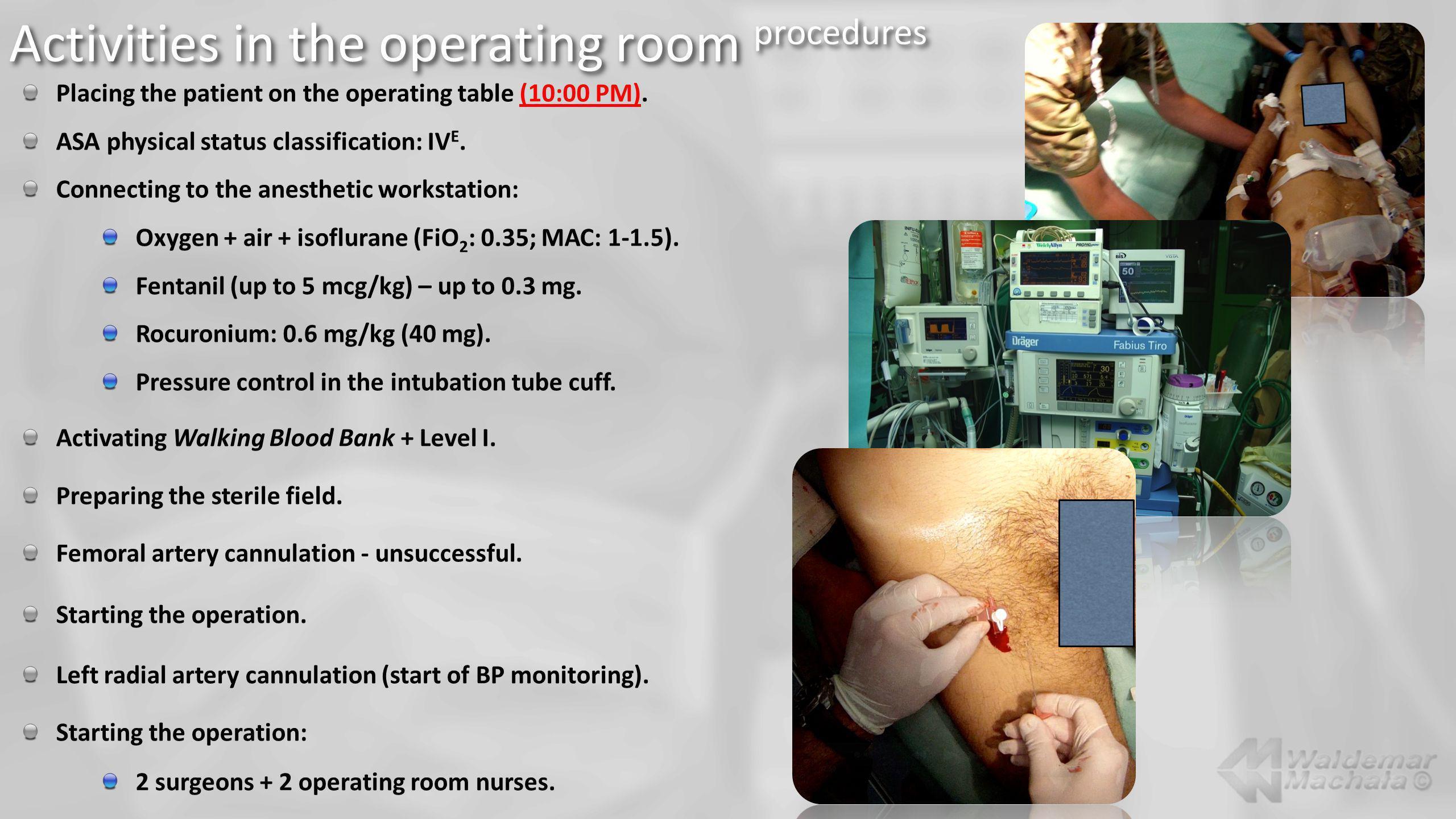 Activities in the operating room procedures
