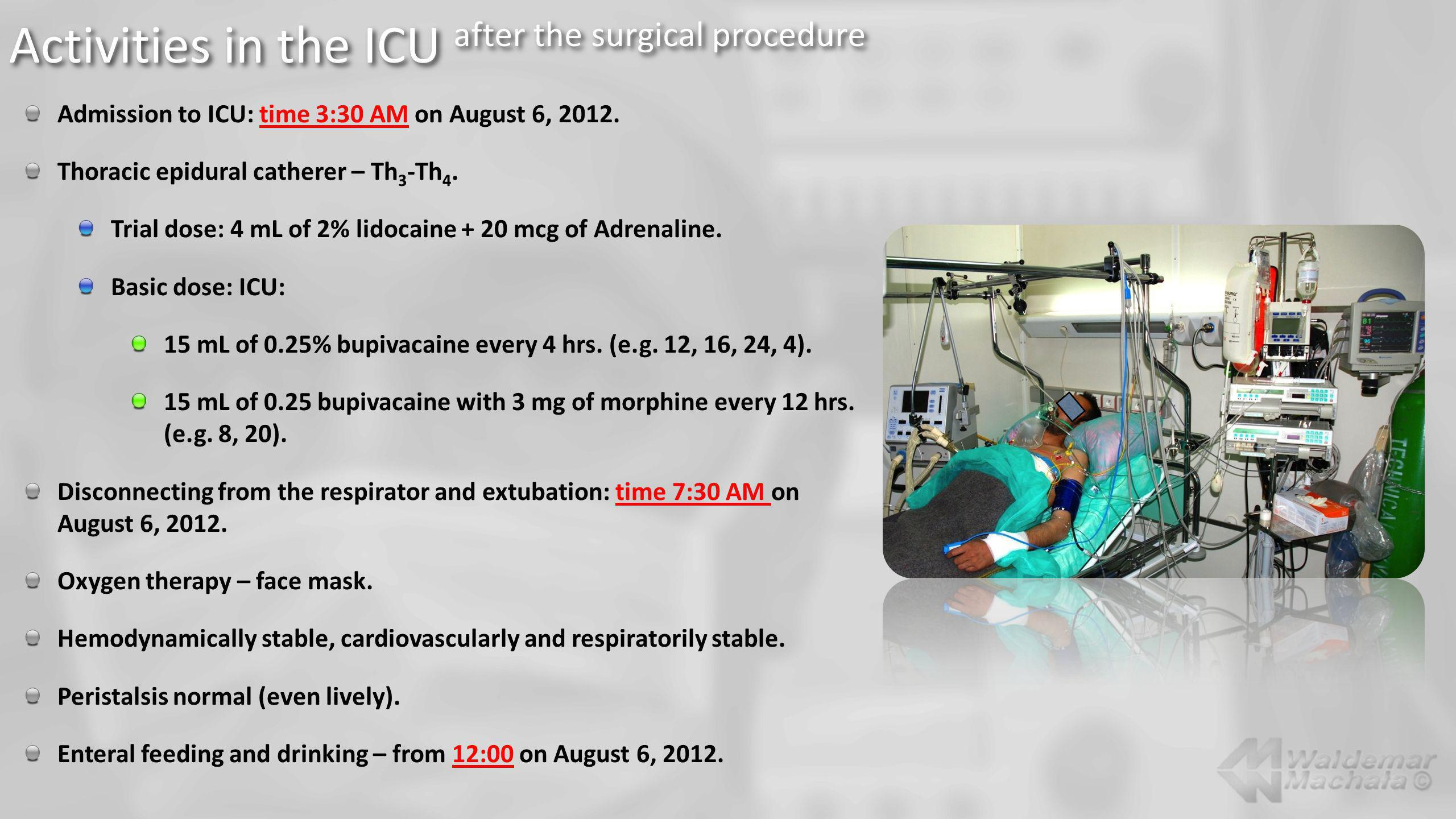 Activities in the ICU after the surgical procedure