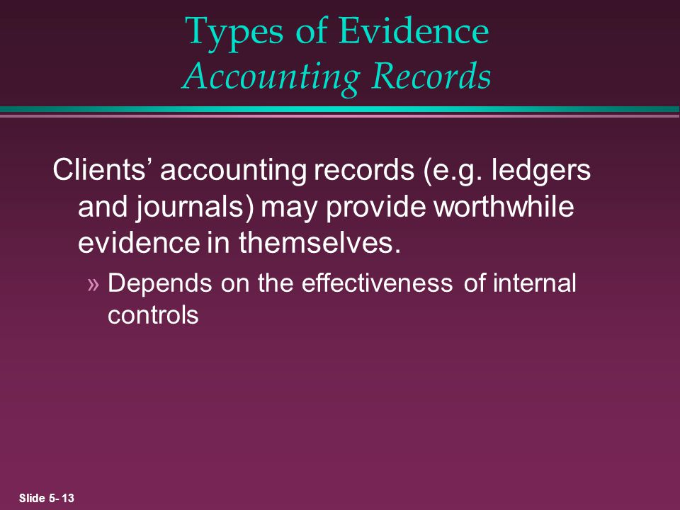 Types of Evidence Accounting Records