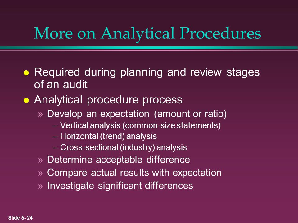 More on Analytical Procedures