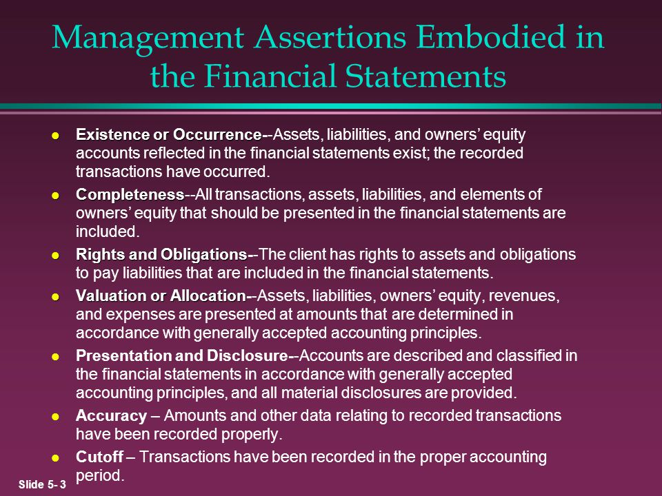 Management Assertions Embodied in the Financial Statements