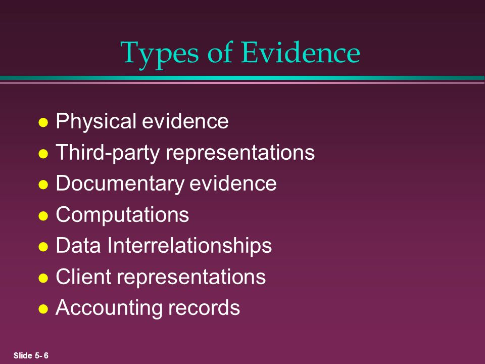 Types of Evidence Physical evidence Third-party representations