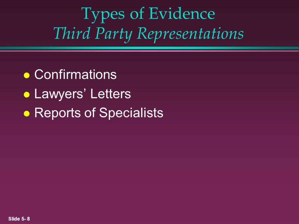 Types of Evidence Third Party Representations