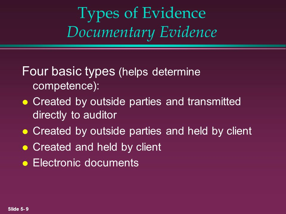 Types of Evidence Documentary Evidence