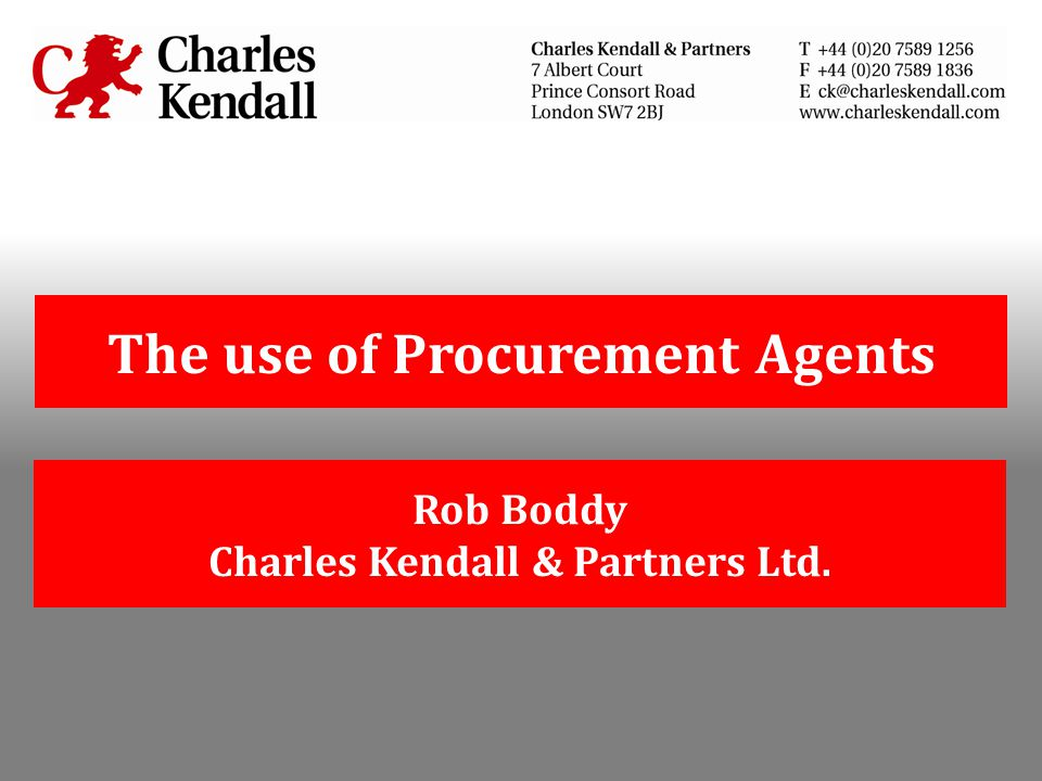 The use of Procurement Agents