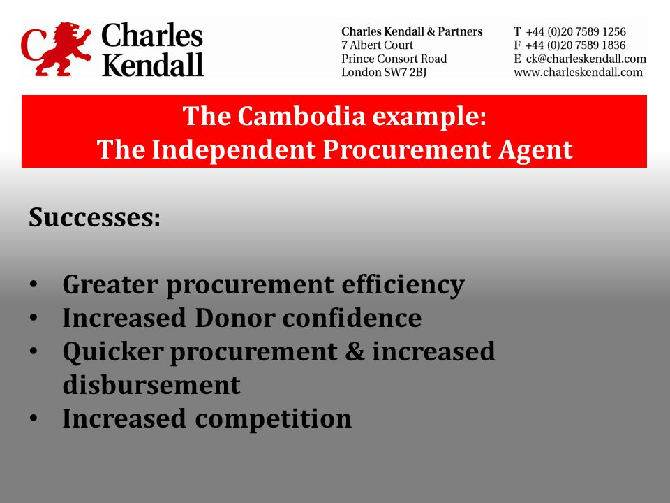 The Cambodia example: The Independent Procurement Agent