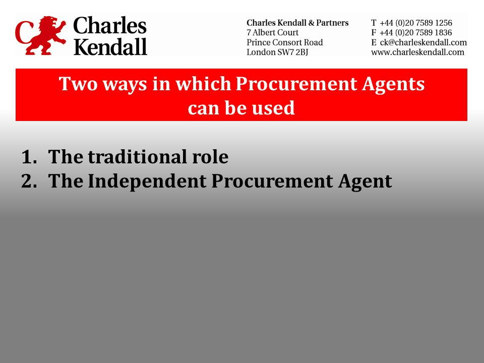 Two ways in which Procurement Agents can be used
