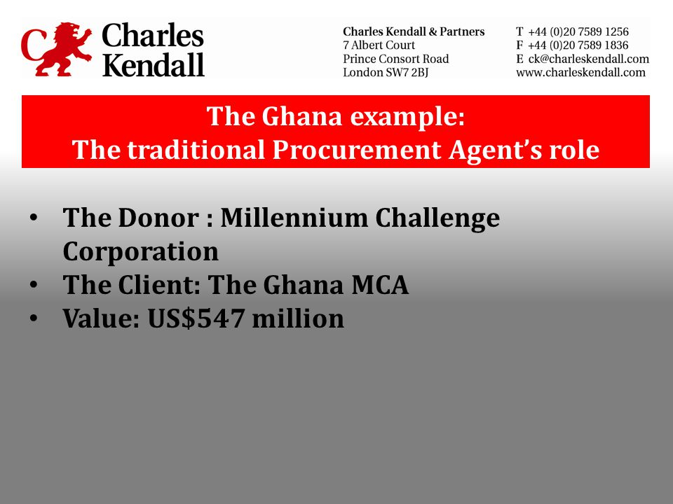 The Ghana example: The traditional Procurement Agent's role