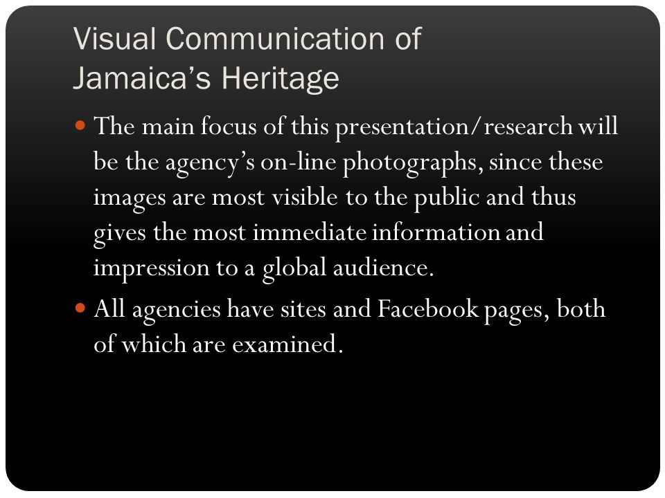 Visual Communication of Jamaica's Heritage