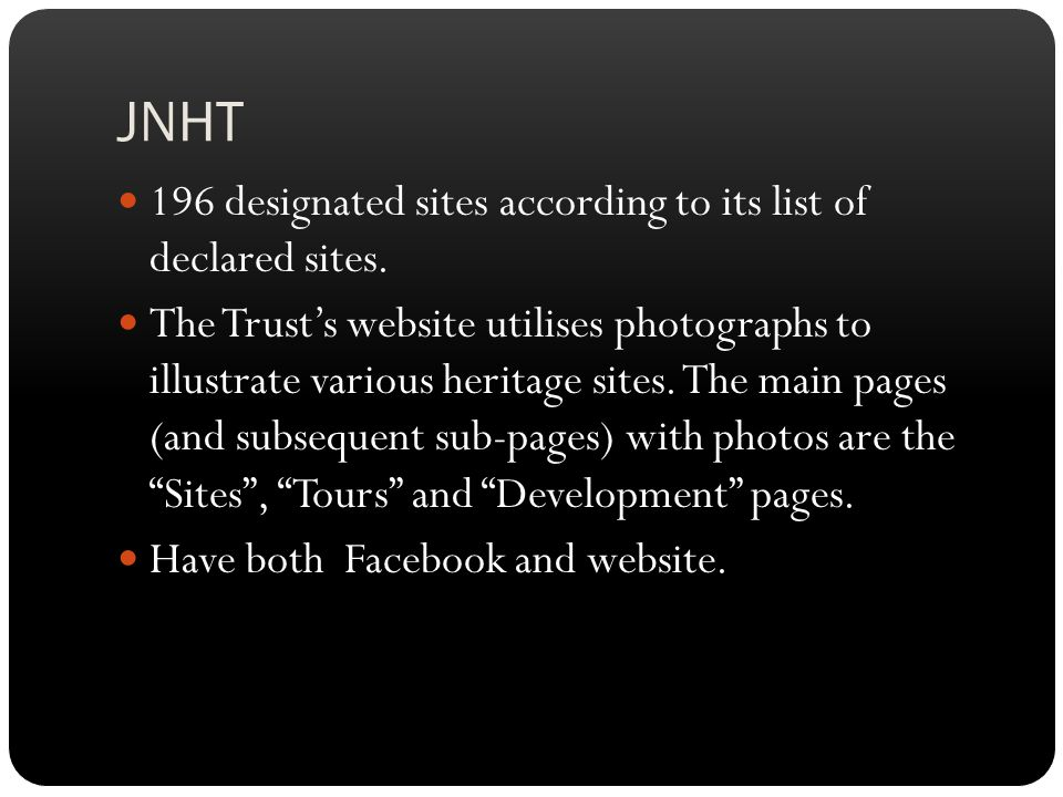 JNHT 196 designated sites according to its list of declared sites.