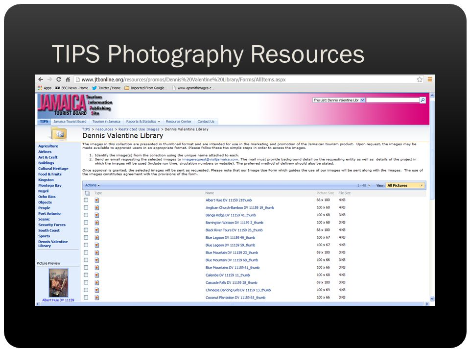 TIPS Photography Resources
