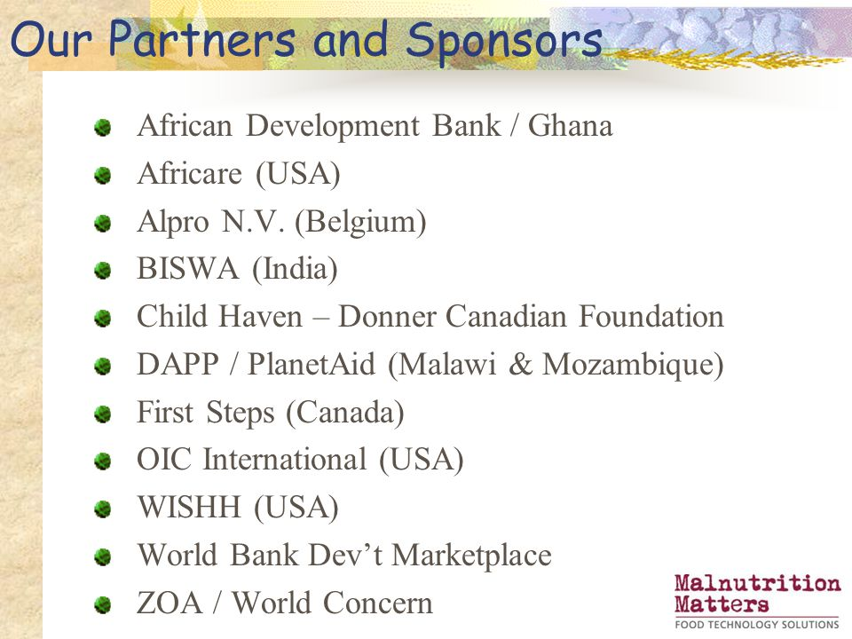 Our Partners and Sponsors