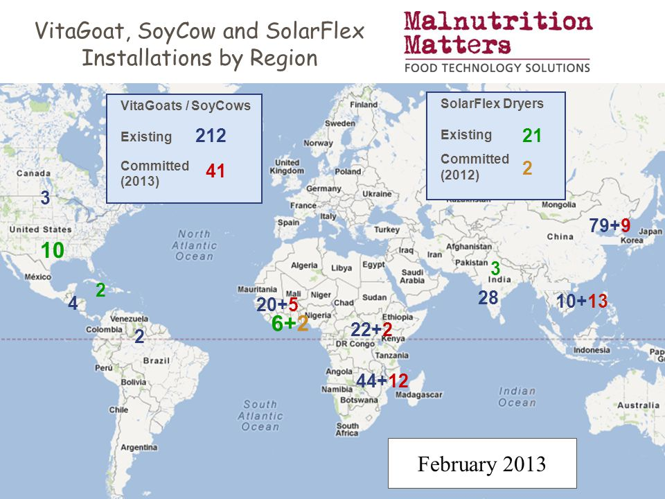 VitaGoat, SoyCow and SolarFlex Installations by Region