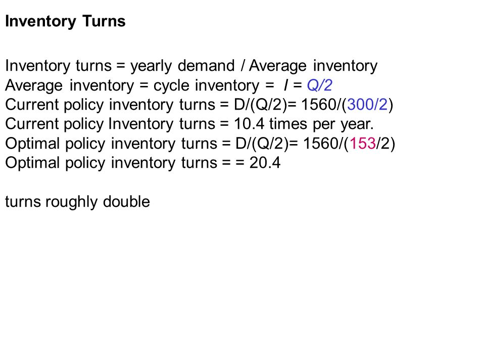 Inventory Turns Inventory turns = yearly demand / Average inventory. Average inventory = cycle inventory = I = Q/2.