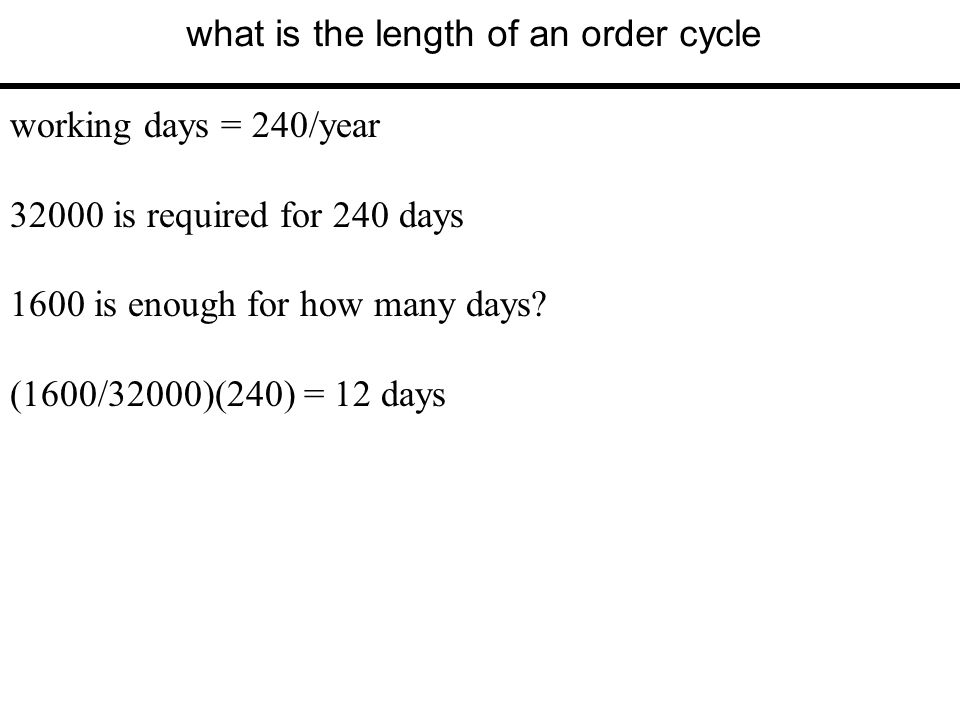 what is the length of an order cycle