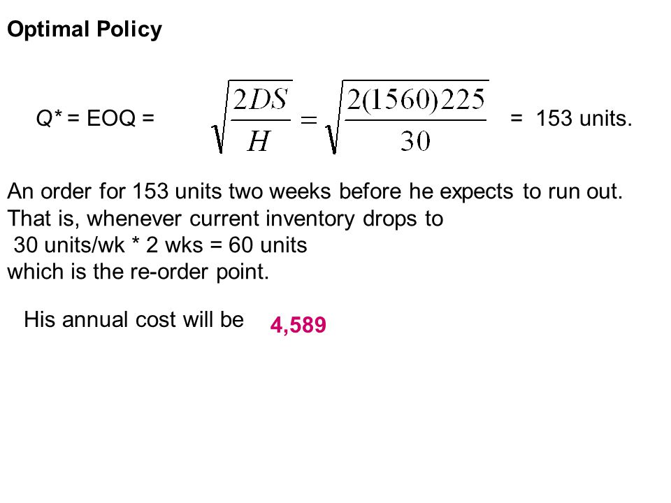 Optimal Policy Q* = EOQ = = 153 units. An order for 153 units two weeks before he expects to run out.