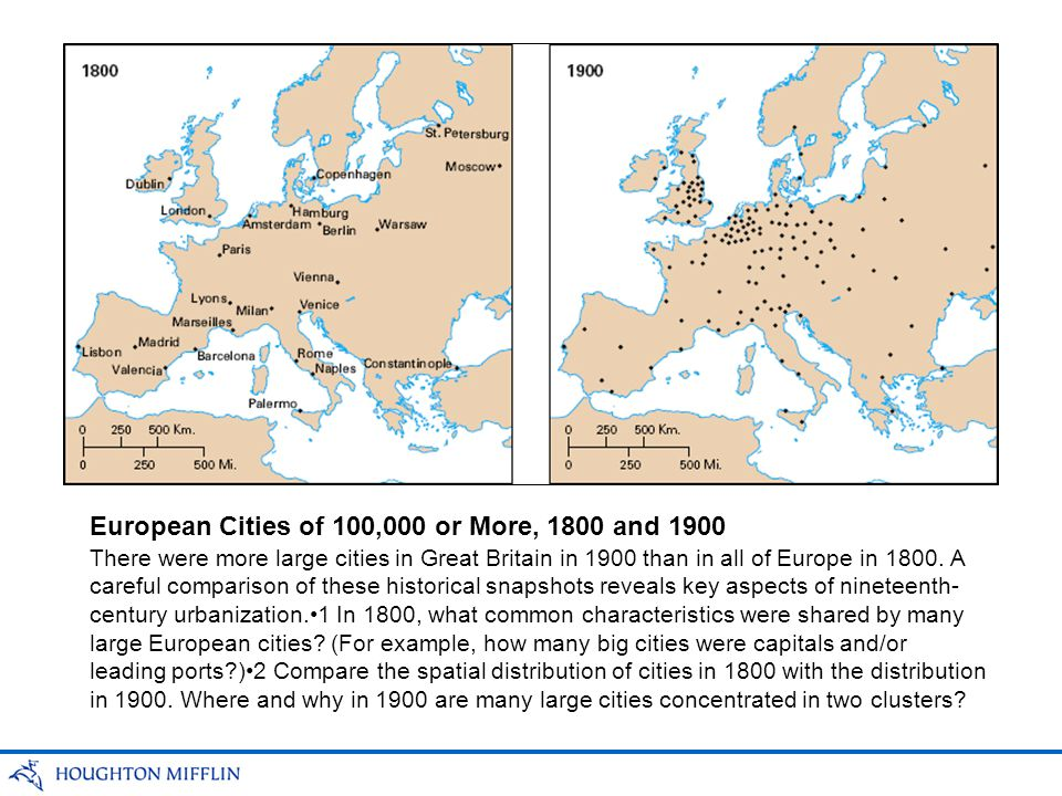 European Cities of 100,000 or More, 1800 and 1900