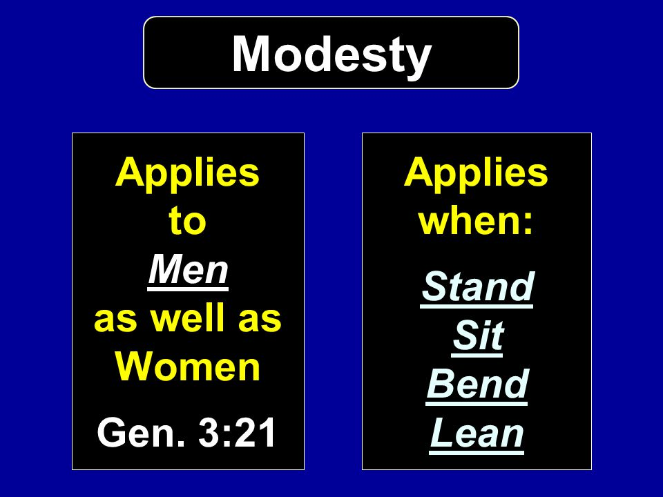 Modesty Applies to Men as well as Women Gen. 3:21 Applies when: Stand