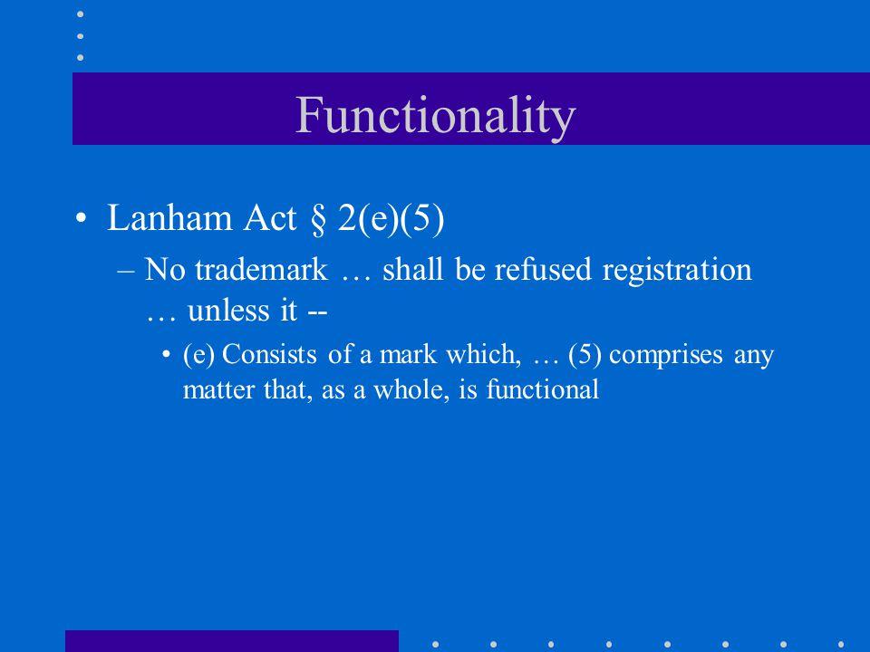 Functionality Lanham Act § 2(e)(5)