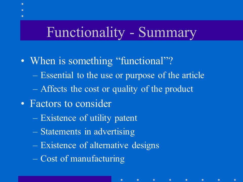 Functionality - Summary